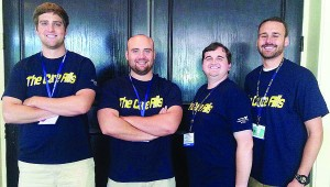 """Members of the championship """"Cure Alls"""" team are, from left to right: Aaron Garst, Class of 2016; Ryan Smith, Class of 2015; Brandon Farmer, Class of 2016; and Scott Brewster, Class of 2017."""