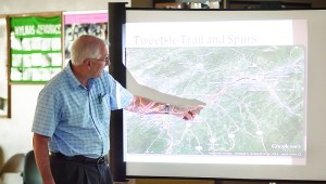 Photo by Brandon Hicks Ken Gough, a member of the Tweetsie Trail Task Force, describes the trail during a presentation Wednesday at the Elizabethton Senior Citizens Center.
