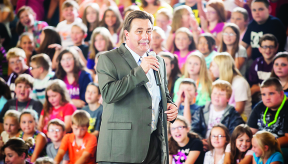 """Director of Schools Dr. Kevin Ward tells Hunter Elementary School students that their school and Happy Valley Forge Elementary School were named """"Reward Schools"""" by the Tennessee Department of Education."""
