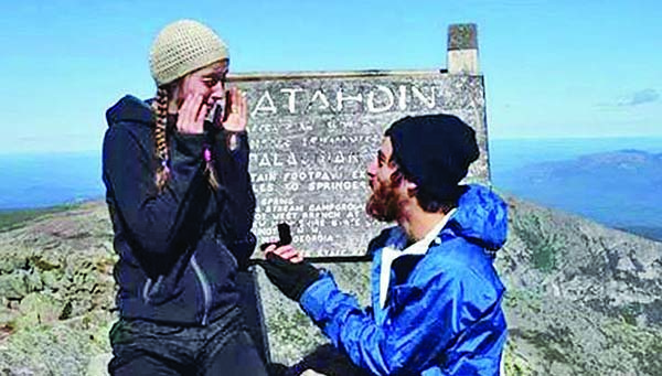 After thousands of miles of twists and turns, the Appalachian Trail had a fina surprise for Kayla Carter: At the summit of Mount Katahdin, hiking companion Noah Naseri pulled a box from his pocket - for once, one that contained neither trail mix nor oatmeal - and asked her to marry him.