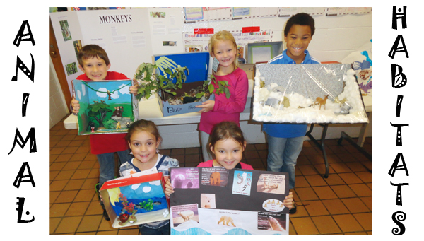 Photo by Abby Morris-Frye Valley Forge Elementary second-graders show off class projects on animal habitats. In the front row, from left, are Anna Hatley and Abbie Lunsford; in the back, from left, are Tyler Scalf, Briley Davis and Samuel Hayward.