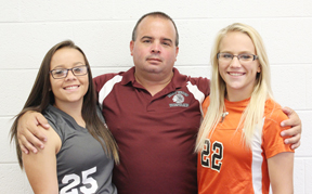 Photo by Collin Brooks HV soccer and wrestling coach Eddie Morrell with daughters Courtney, left, and Jordan