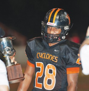 Photo by Bart Nave EHS senior Ethan Thomas was honored during Friday night's game at Brown-Childress Stadium.