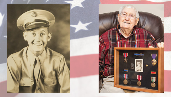 Harold Hubbard, show at left during WWII and at right with his shadowbox of medals, fought on the front lines in the Italian Alps during the war.