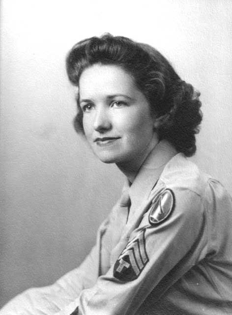 Helen Fetzer is pictured as a young WAC during World War II. She served at the War Department in Washington, D.C., in intellingence.
