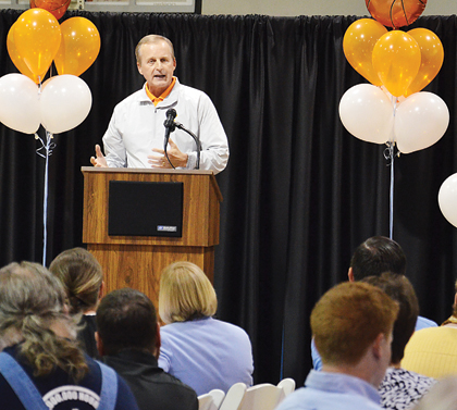 Star Photo/Rebekah Price UT Men's Basketball Head Coach Rick Barnes spoke about his childhood, being raised by his grandparents and attending a youth club as a boy. He talked about the importance of that club and his coaches challenging him and believing in him that led him to where he is in life today.