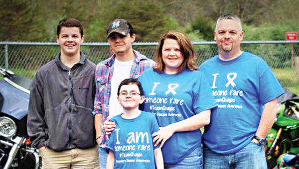 Contributed Photo Chayse (center) is pictured with his parents, Greg and Kristal, and his brothers Jared and Bryceon at a recent benefit motorcycle ride.