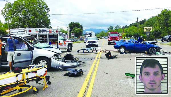 Star File Photo This two-vehicle accident in September 2015 sent three people to the hospital and shut down most of West Elk Avenue. The driver of the blue car, Zachary Michalski, shown in inset photo, was ruled at fault and has now been indicted on two felony charges in connection with the crash.