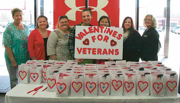 Star Photo/Abby Morris-Frye  To help honor local veterans, Shoe Sensation sponsored a special sock drive to collect warm socks and other Valentine's gifts for veterans living in local nursing homes. On Monday, representatives of several local nursing homes picked up the gifts for the veterans in their care.