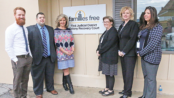 Star Photo/Curtis Carden First Judicial District Felony Recovery Court team members (from left) Aaron Free, Matt Roark, Lisa Tipton, Melissa Langett, Melanie Sellers and Robin Ledford were in attendance for the facility's open house Thursday afternoon.